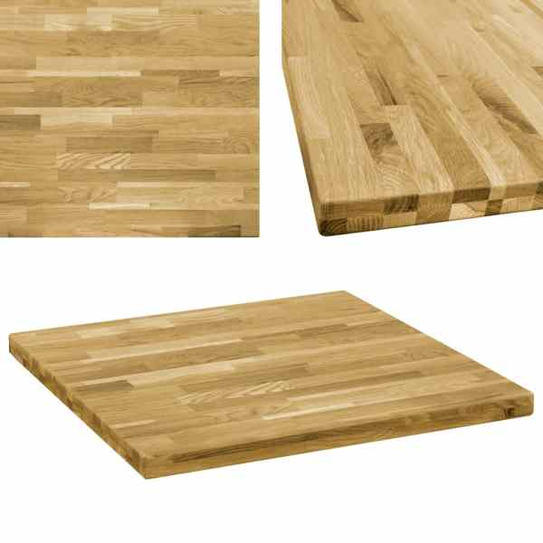 vidaXL Blat de masă, lemn masiv de stejar, pătrat, 44 mm, 80×80 cm