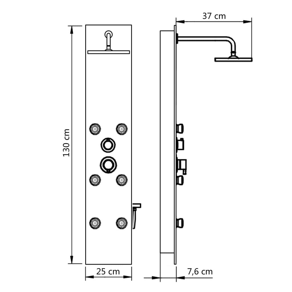 vidaXL Panou de duș din sticlă, 25×44,6×130 cm, alb