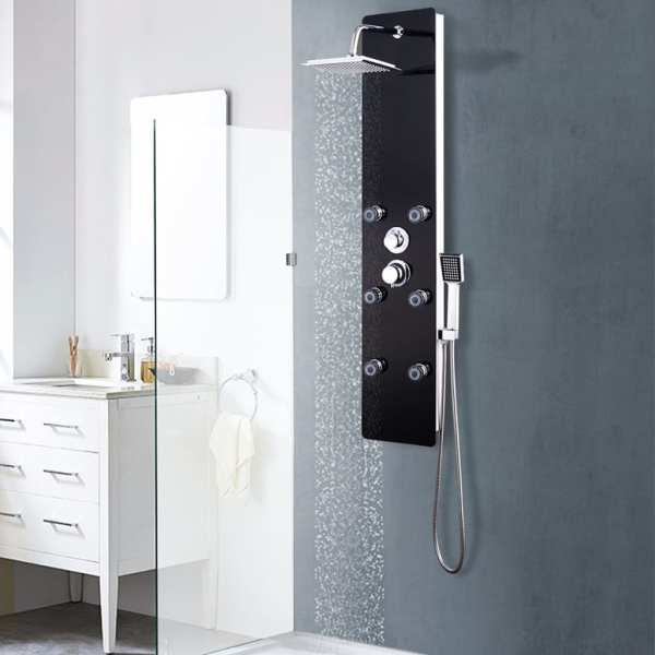 vidaXL Panou de duș din sticlă, 25×44,6×130 cm, negru