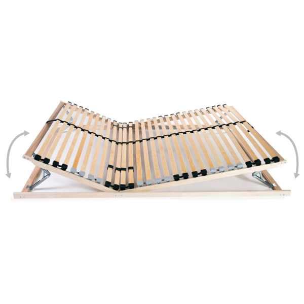 Bază de pat cu șipci, 28 șipci, 7 zone, 100 x 200 cm