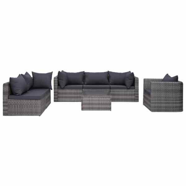 vidaXL Set canapea de grădină cu perne, 7 piese, gri, poliratan
