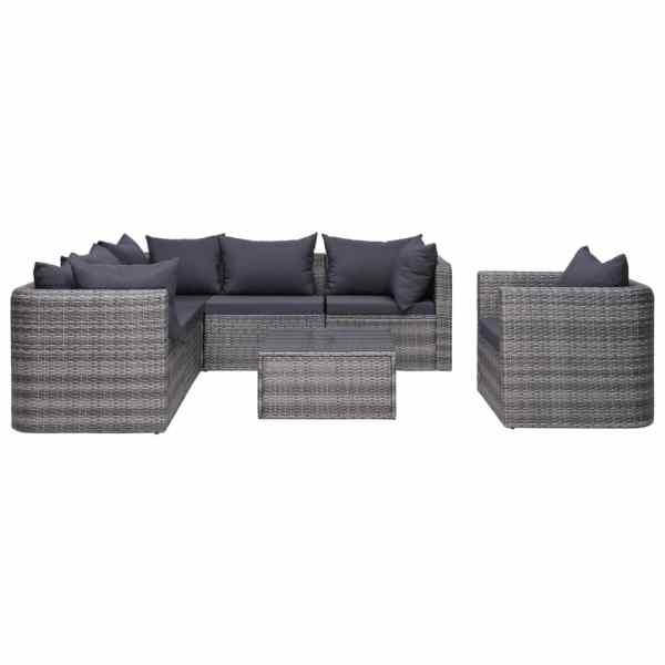 Set canapea de grădină cu perne, 7 piese, gri, poliratan