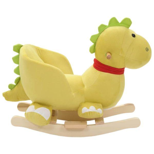 vidaXL Balansoar animal cu spătar dragon pluș 60x32x53 cm verde lime