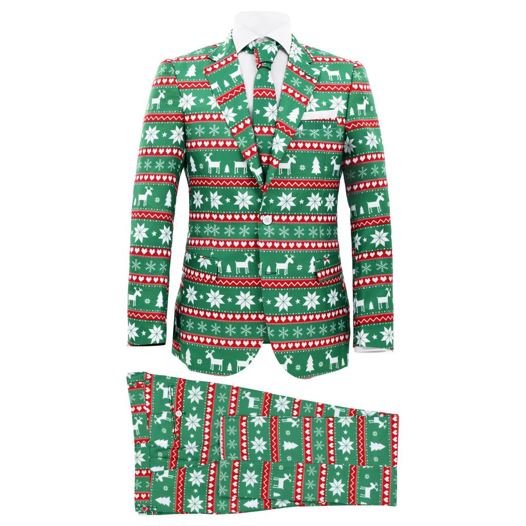 vidaXL Costum bărbătesc Crăciun, 2 piese, cravată, verde, mărimea 48