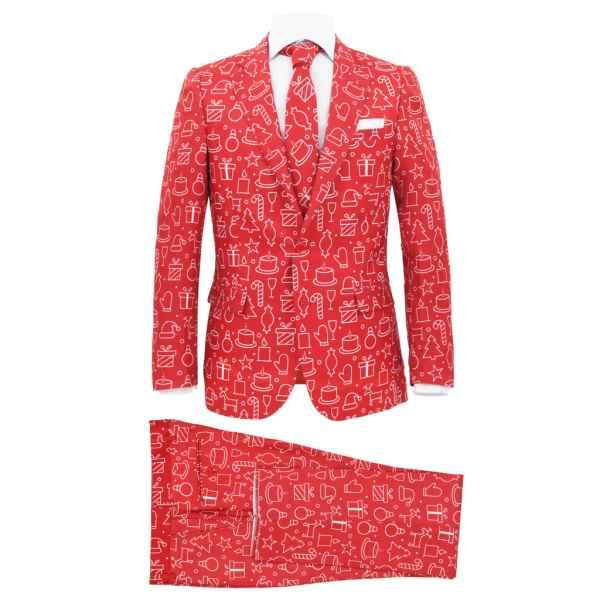 vidaXL Costum bărbătesc Crăciun, 2 piese, cravată, roșu, mărimea 54
