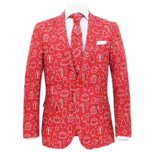 Costum bărbătesc Crăciun, 2 piese, cravată, roșu, mărimea 54