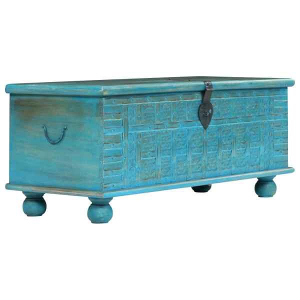 vidaXL Cufăr din lemn masiv de mango, 100 x 40 x 41 cm, albastru