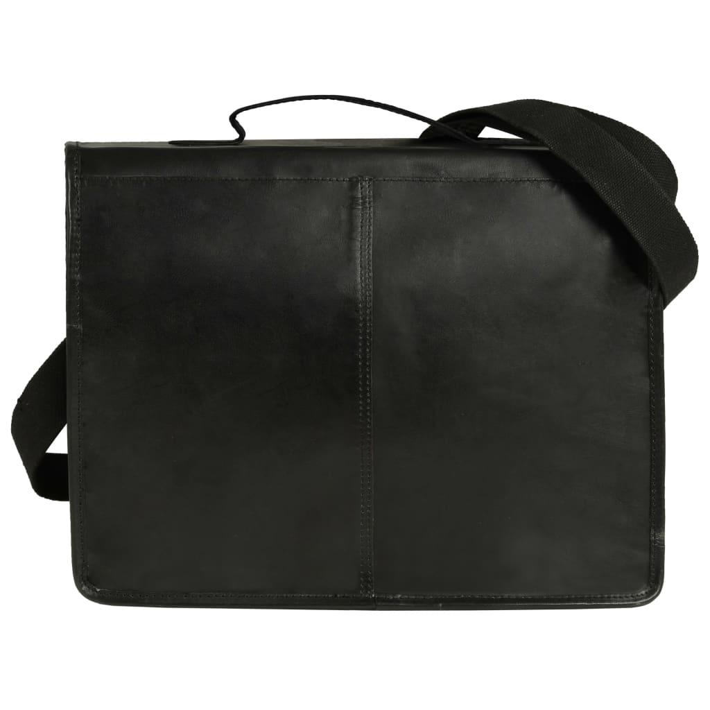 vidaXL Geantă de laptop, negru, piele naturală