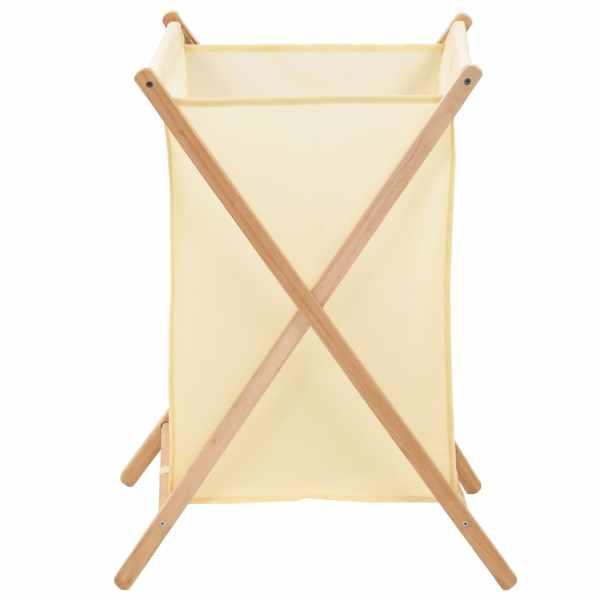 vidaXL Coș de rufe, bej, lemn cedru și material textil, 42x41x64 cm