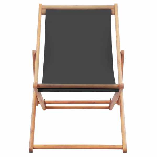 Scaun de plajă pliabil, gri, textil și cadru din lemn