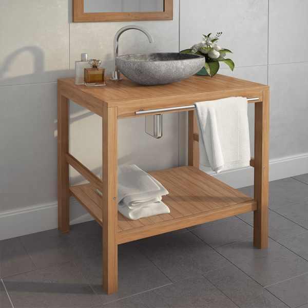 vidaXL Dulap de chiuvetă baie, lemn masiv de tec, 74 x 45 x 75 cm