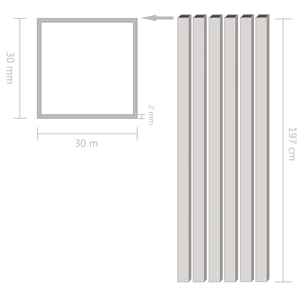 Tuburi din aluminiu, secțiune pătrată, 6 buc, 30x30x2 mm, 2 m