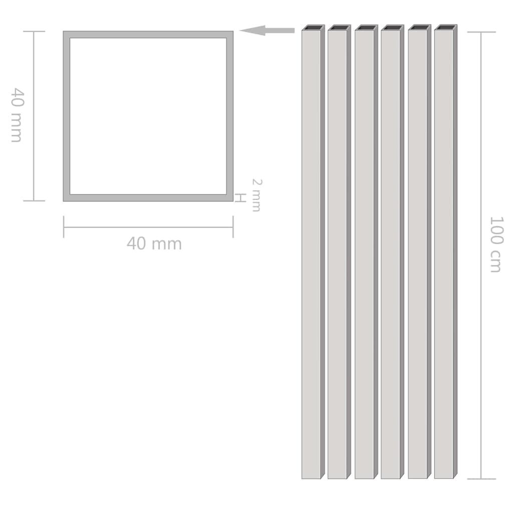 Tuburi din aluminiu, secțiune pătrată, 6 buc, 40x40x2 mm, 1 m