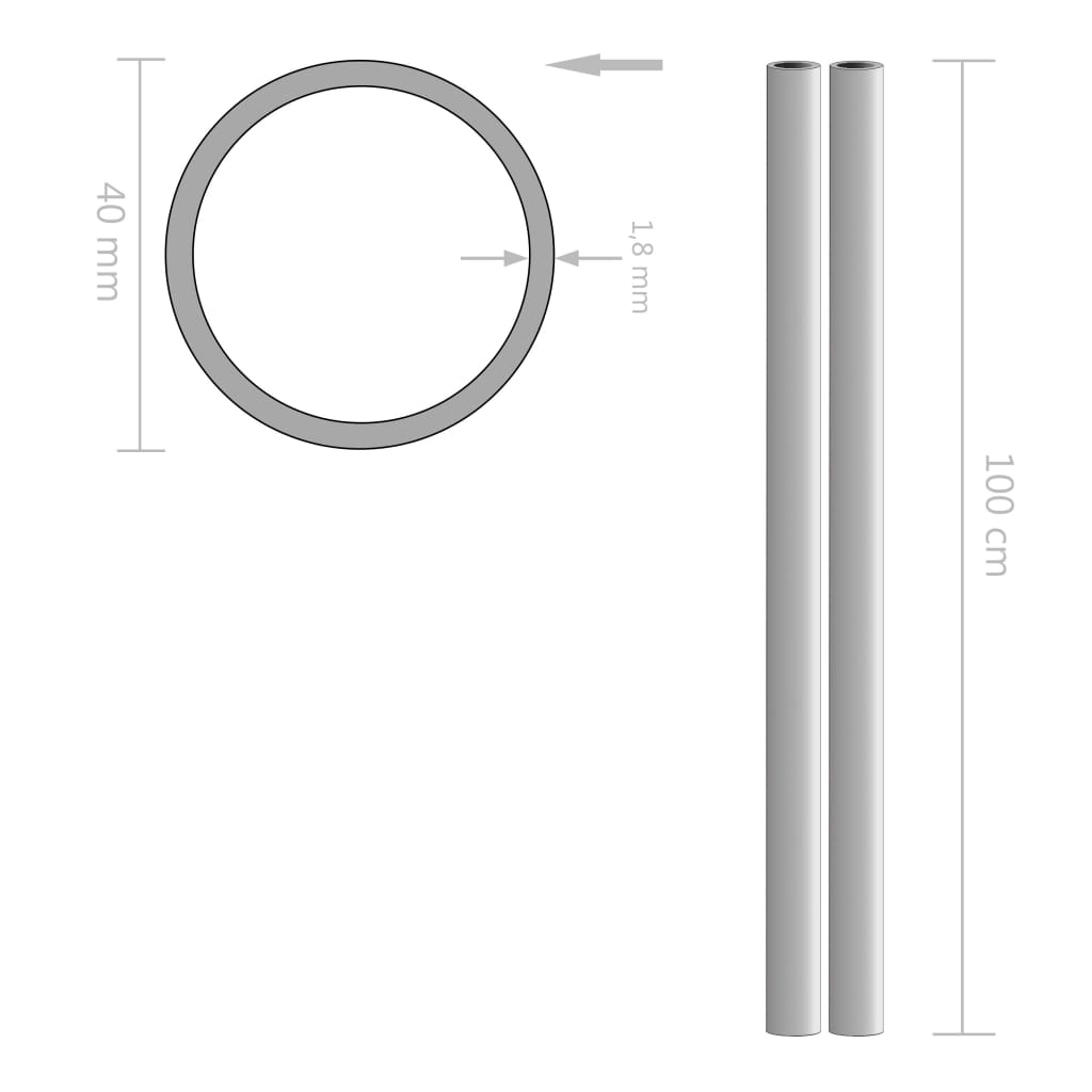 Tuburi din oțel inoxidabil 2 buc. Ø40×1,8mm rotund V2A 1m