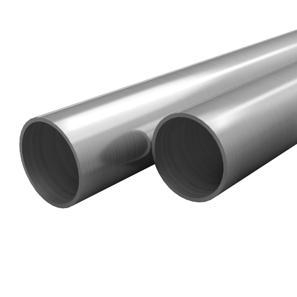vidaXL Tuburi din oțel inoxidabil 2 buc. Ø42×1,8mm rotund V2A 2m
