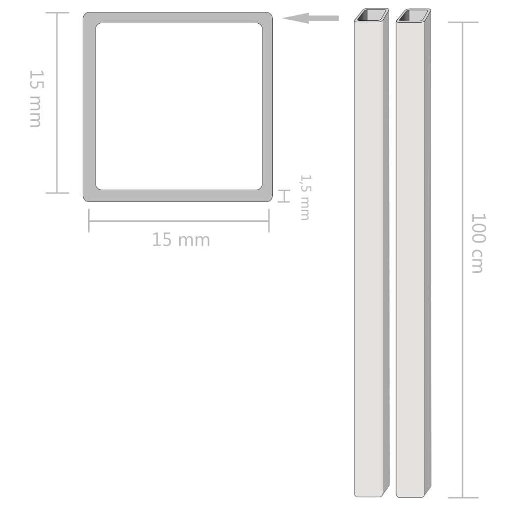 Tuburi din oțel inoxidabil 2 buc. 15x15x1,5 mm pătrat V2A, 1 m
