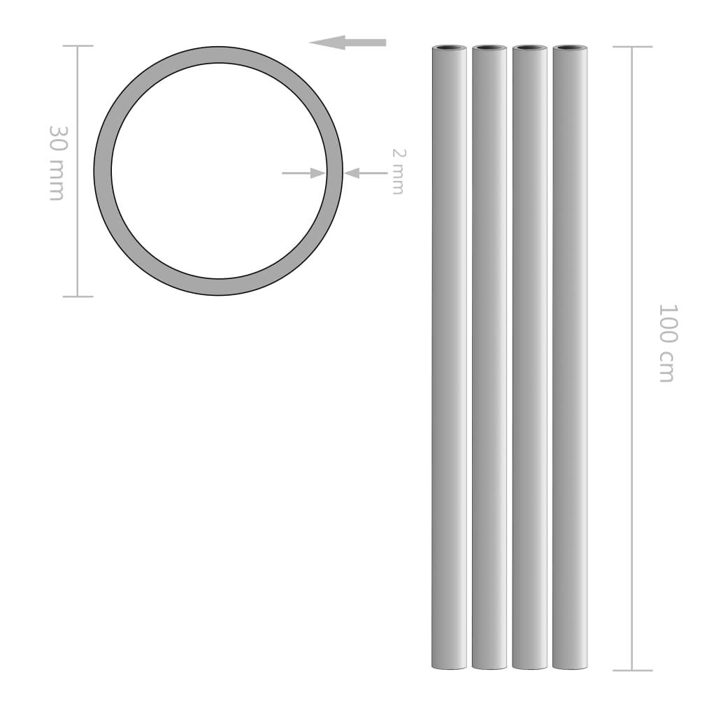 Tuburi din aluminiu, 4 buc., 1 m, Ø30 x 2 mm, rotund