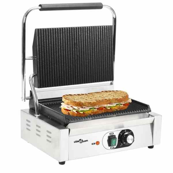 vidaXL Grill panini cu striații, 44 x 41 x 19 cm, 2200 W