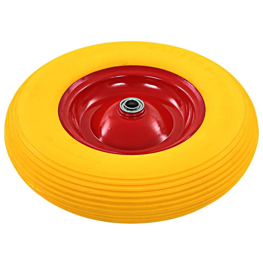 vidaXL Roată de roabă cu osie, 4.00-8, PU solid, 390 mm