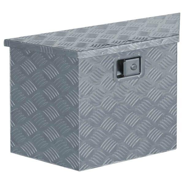 vidaXL Cutie din aluminiu, 70 x 24 x 42 cm, formă trapez, argintiu