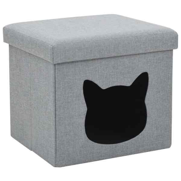 vidaXL Pat de pisică pliant, gri, 37 x 33 x 33 cm, imitație in