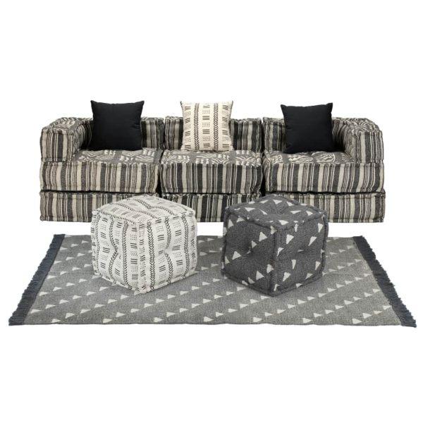 vidaXL Set canapea modulară, 12 piese, material textil, dungi