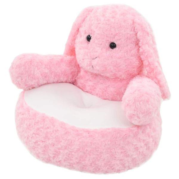 vidaXL Iepuraș de jucărie, roz, pluș