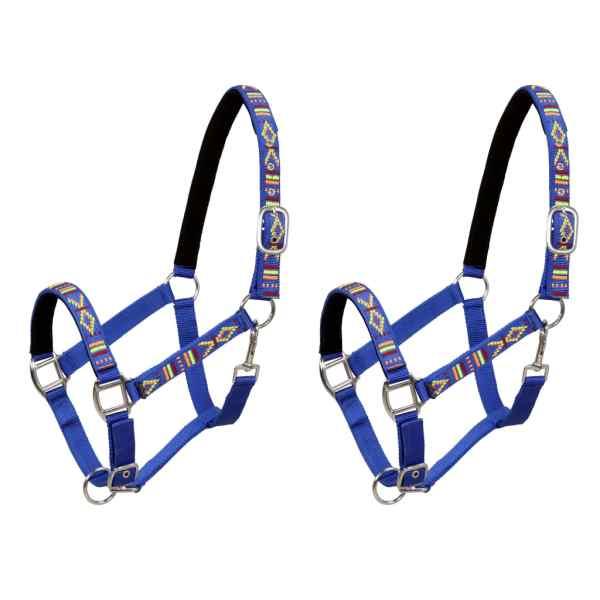 vidaXL Hamuri de cap pentru cai 2 buc. albastru nailon mărime ponei
