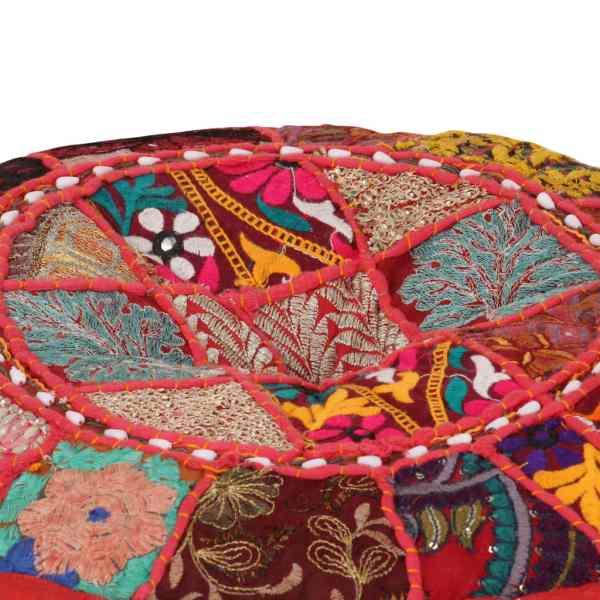 Fotoliu puf din petice, roșu, 40×20 cm, bumbac, rotund, manual