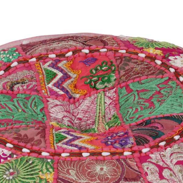 Fotoliu puf din petice, roz, 40 x 20 cm bumbac, rotund, manual
