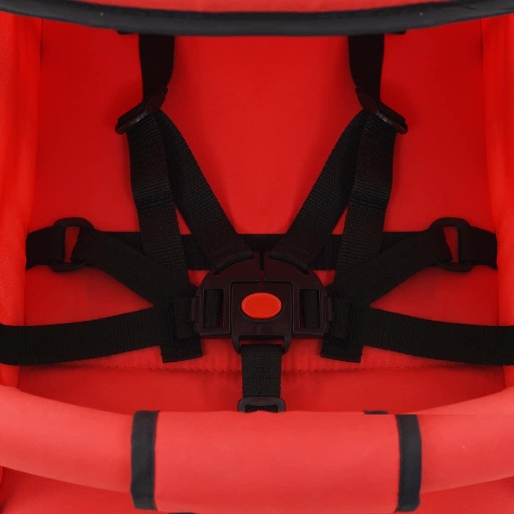 Landou/cărucior pliabil copii 2-în-1, roșu, oțel