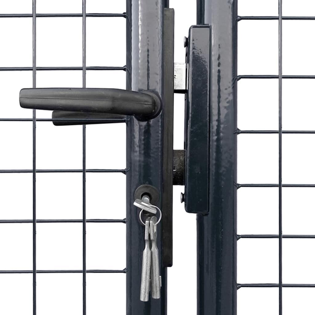 Poartă din plasă grădină, oțel galvanizat, 400 x 175 cm, gri