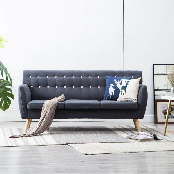 vidaXL Canapea 3 locuri, tapițerie textilă, 172x70x82 cm, gri închis