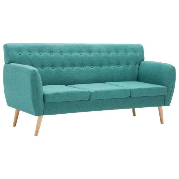 Canapea 3 locuri, tapițerie textilă, 172x70x82 cm, verde