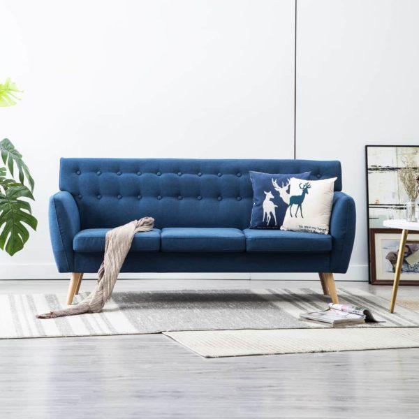 vidaXL Canapea 3 locuri, tapițerie textilă, 172x70x82 cm, albastru