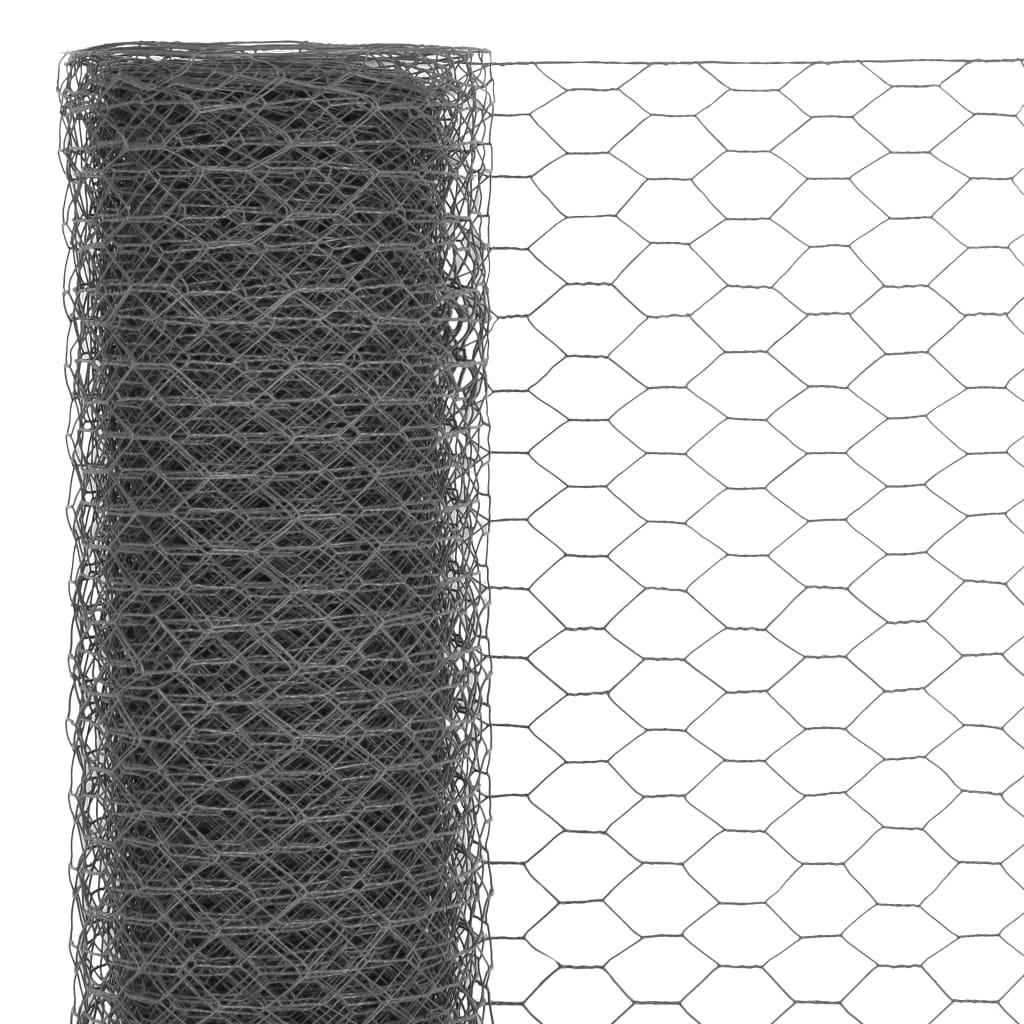 Plasă de sârmă găini, gri, 25 x 1 m, oțel cu înveliș PVC
