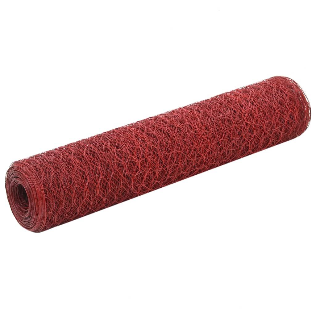 vidaXL Plasă de sârmă găini, roșu, 25 x 0,75 m, oțel cu înveliș PVC