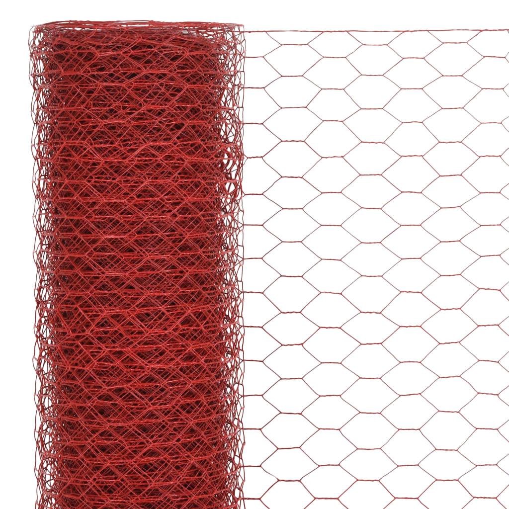 Plasă de sârmă găini, roșu, 25 x 1 m, oțel cu înveliș PVC