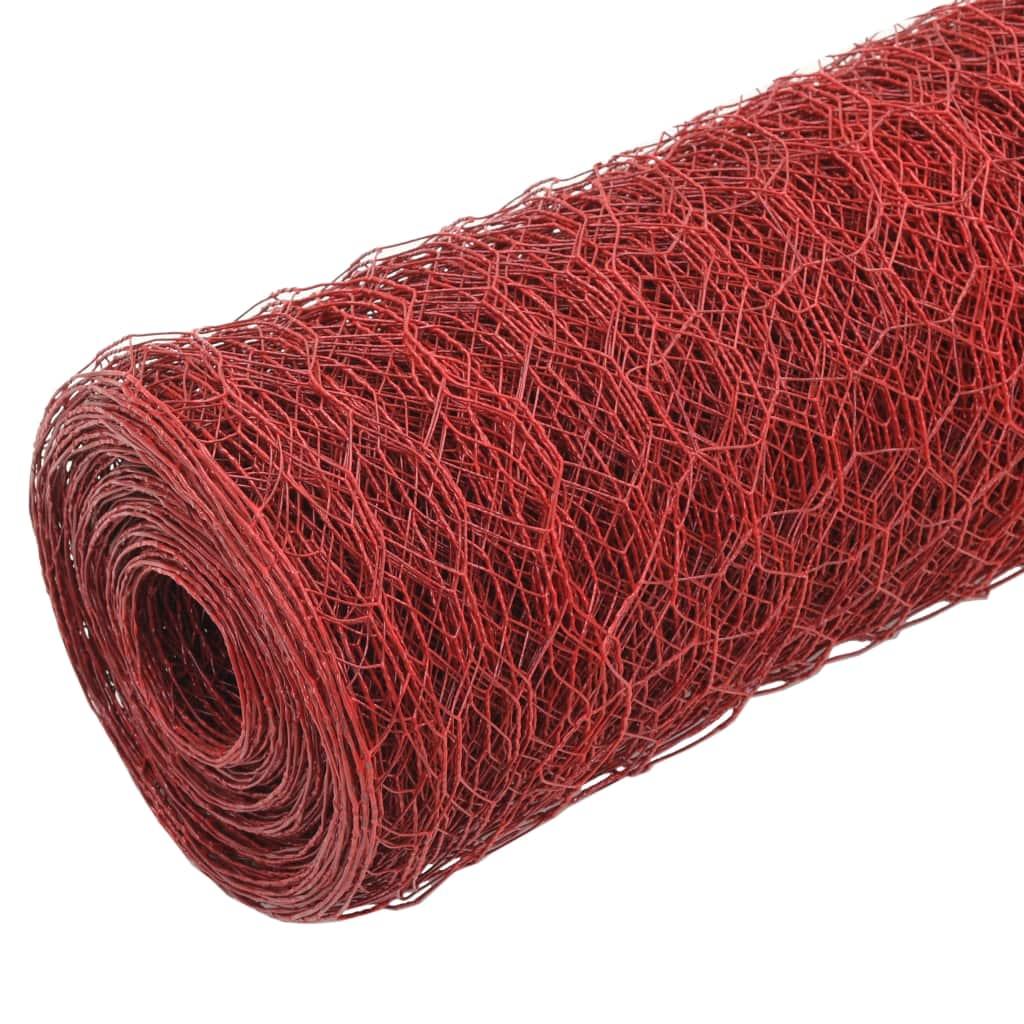Plasă de sârmă găini, roșu, 25 x 1,2 m, oțel cu înveliș PVC