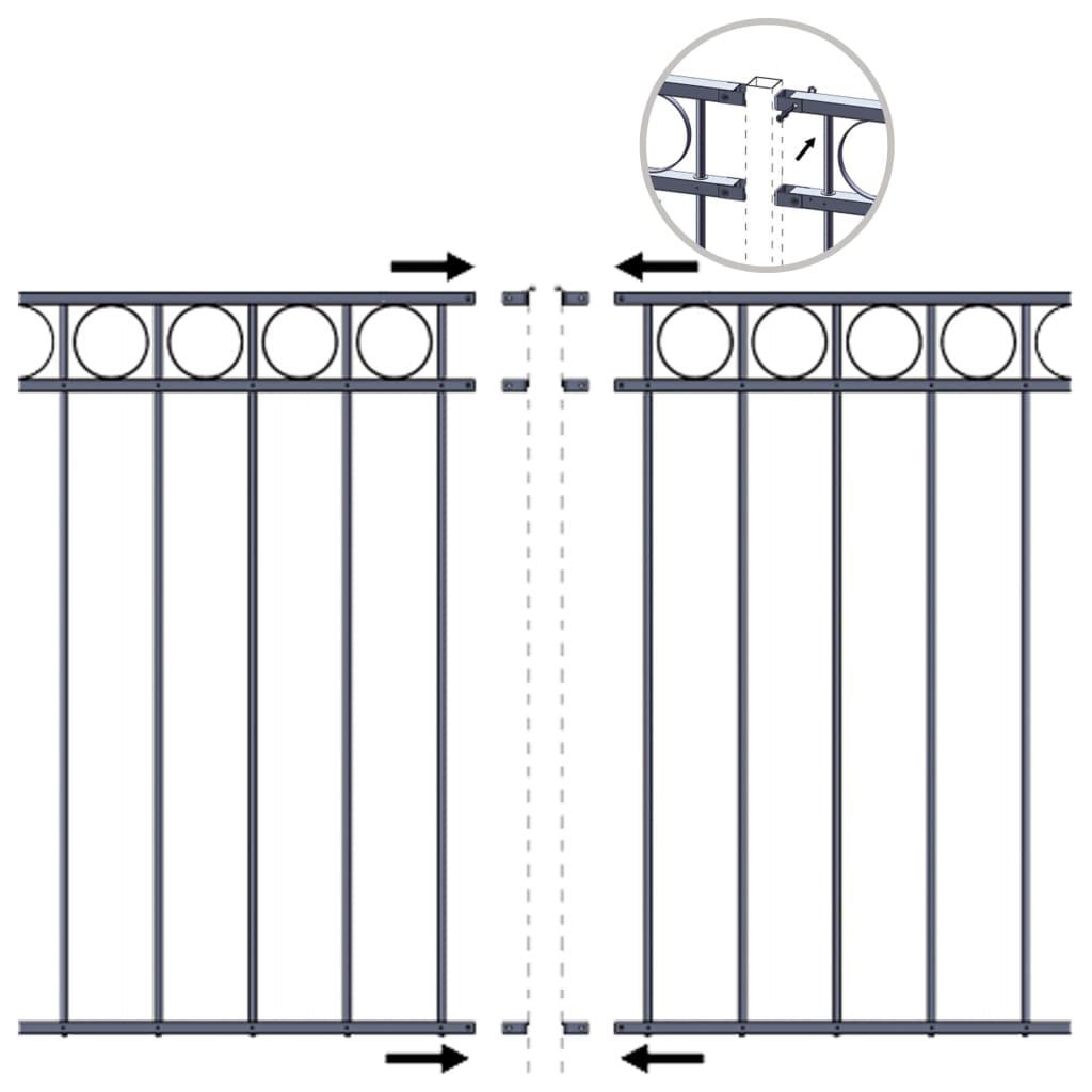 Panou de gard, negru, 1,96 x 1,2 m, oțel