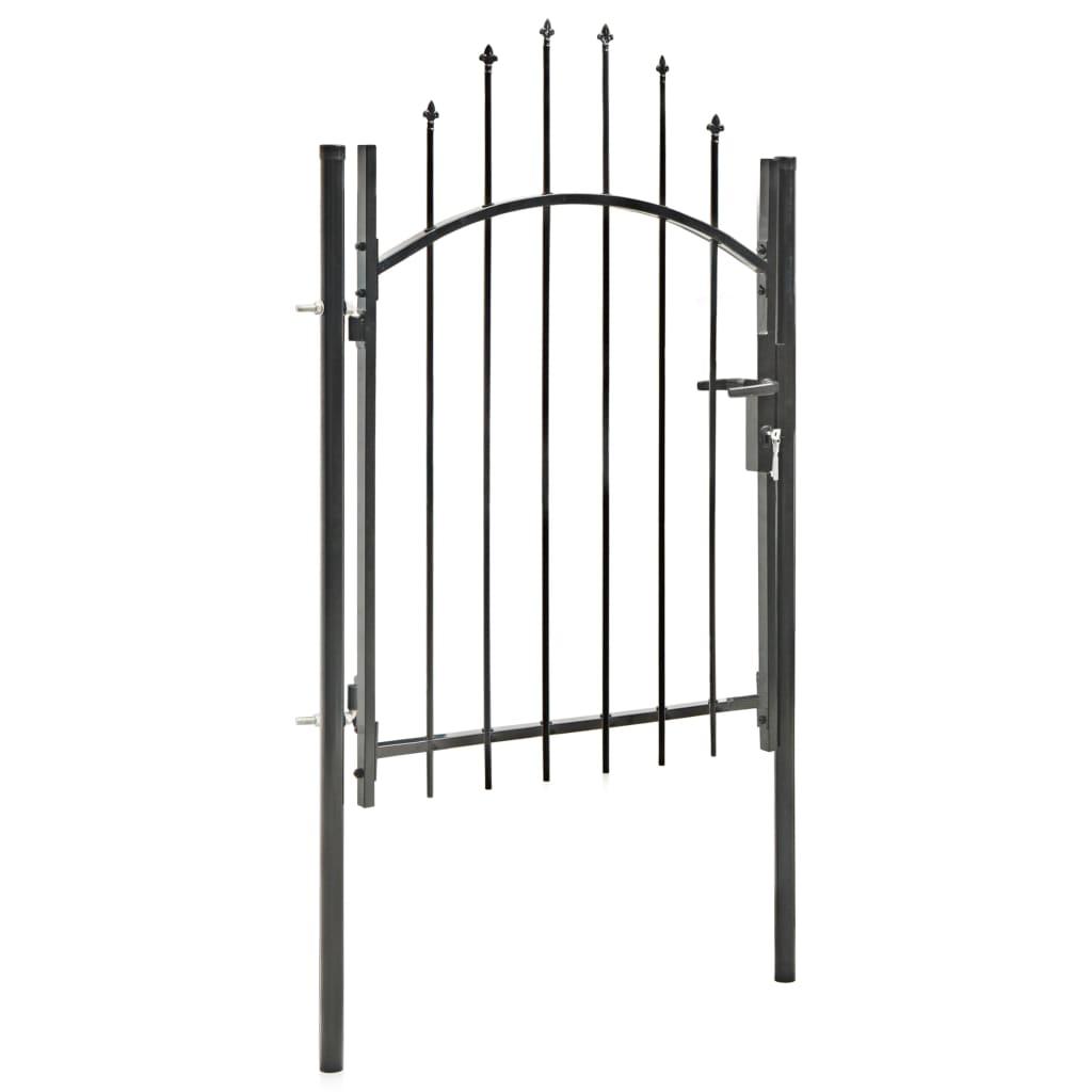 Poartă de grădină, negru, 1 x 1,75 m, oțel