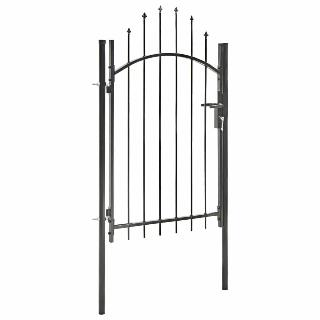 Poartă de grădină, negru, 1 x 2 m, oțel