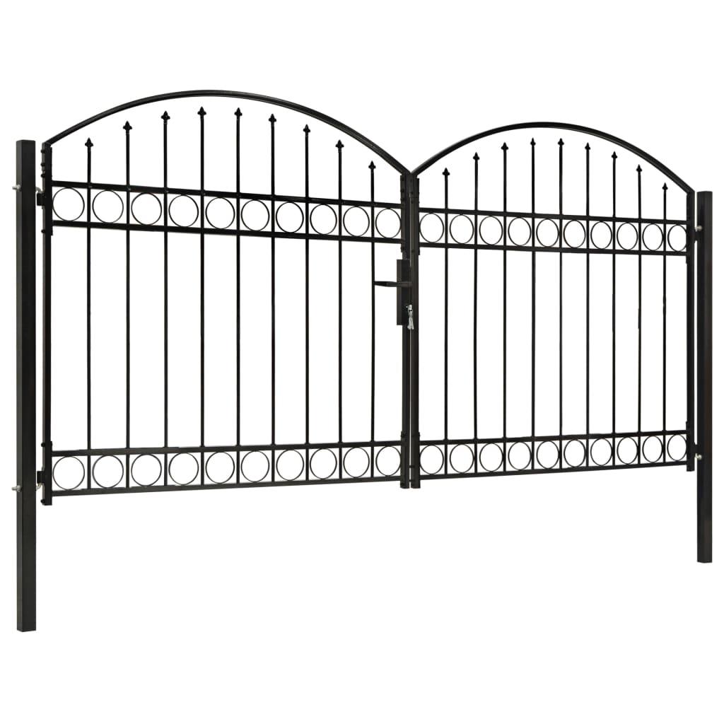 Poartă de gard dublă cu vârf în arcadă, negru, 300×125 cm, oțel