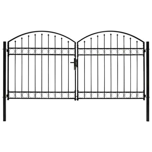 vidaXL Poartă de gard dublă cu arcadă, negru, 300 x 150 cm, oțel