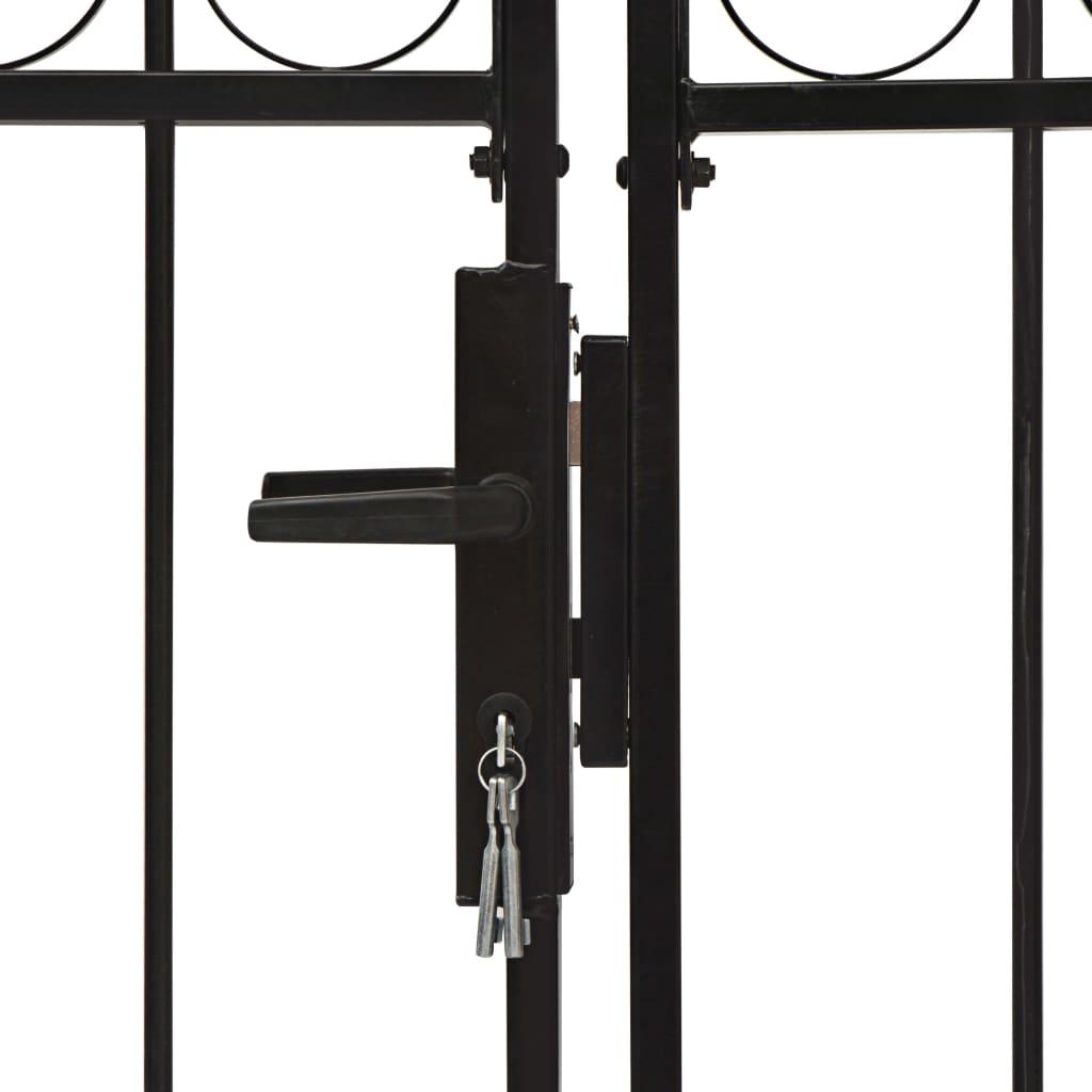 Poartă de gard dublă cu arcadă, negru, 300 x 150 cm, oțel