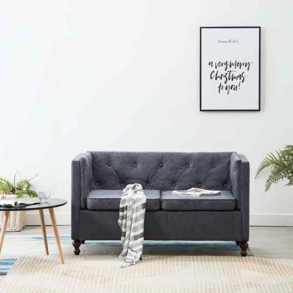 vidaXL Canapea Chesterfield cu 2 locuri, gri, tapițerie țesătură
