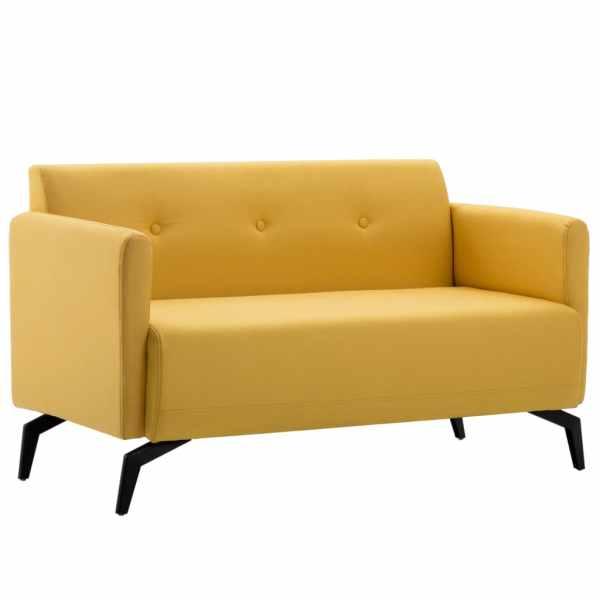 vidaXL Canapea 2 locuri tapițerie material textil 115x60x67 cm, galben