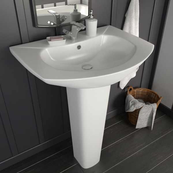 vidaXL Lavoar cu piedestal, alb, 650 x 520 x 200 mm, ceramică