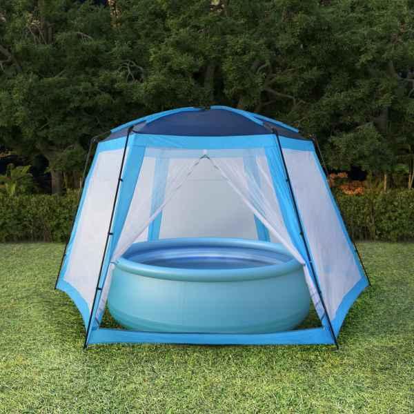 vidaXL Cort de piscină, albastru, 590 x 520 x 250 cm, țesătură