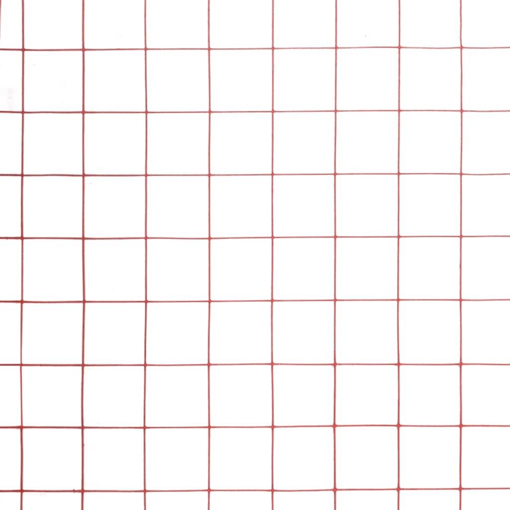 Plasă de sârmă găini, roșu, 10 x 1 m, oțel cu înveliș PVC